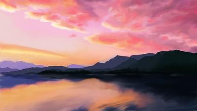 dawn at the lake - wip1