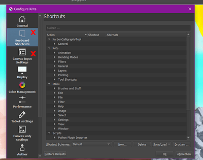 Configure Krita, where to change Shortcuts