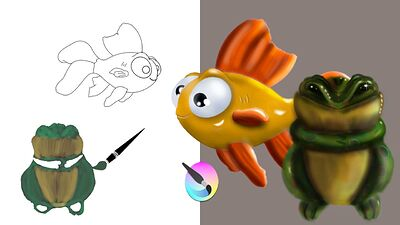 video fish rubber painting