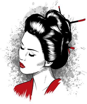 Geisha - Japanese Girl Portrait traditional Japan Woman Art Print